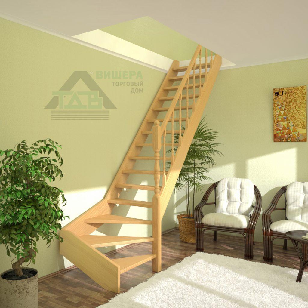 Лестница. Деревянная. На второй этаж. ПРЕСТИЖ ЛП-11. Левозаходная.