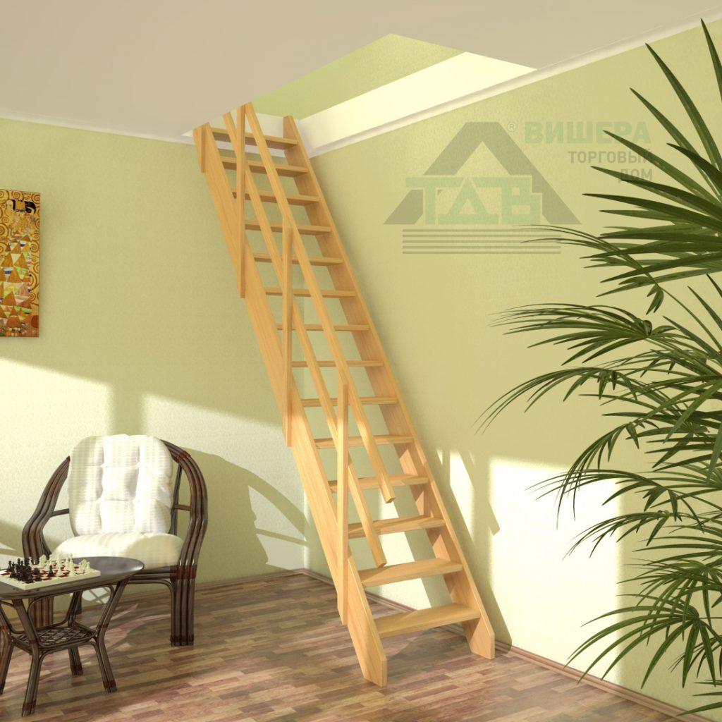 Лестница. Деревянная. Прямая. Стандарт ЛМ-03