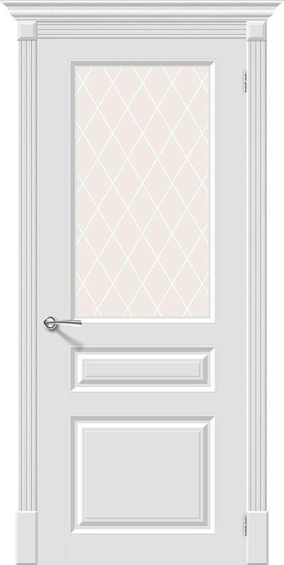 Скинни-15.1. Whitey Cristal. Межкомнатная крашенная. Эмаль.  Дверь 600, 700, 800, 900мм.