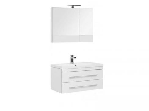Aquanet Верона NEW 90. Комплект мебели для ванной. Белый. Подвесной 2 ящика. Зеркало.